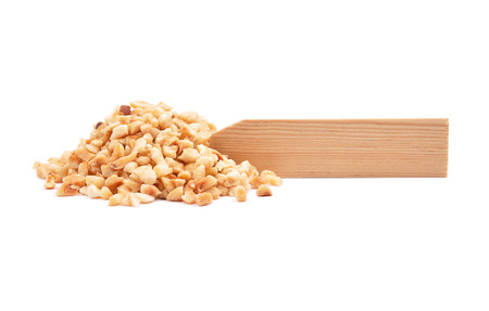 describable: Minced hazelnuts at plate