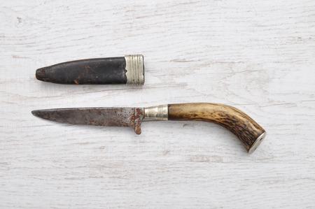 sheath: Hunting knife with leather sheath Stock Photo