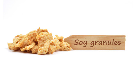 describable: Soy granules at plate