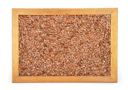 purgative: Flax seed in frame Stock Photo