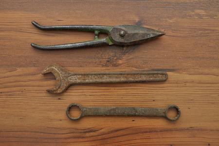 open end wrench: Pair of snips and wrenches