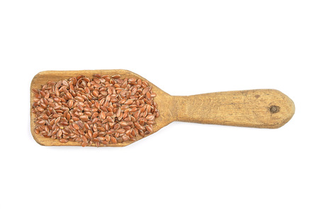 Flax seed on shovel Stock Photo
