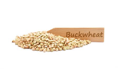 describable: Buckwheat on white