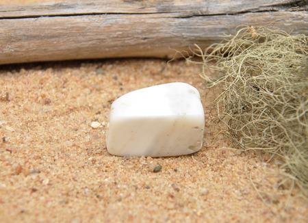 quarz: Magnesite on beach Stock Photo