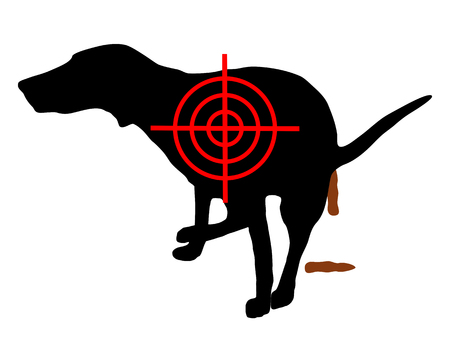 Aim at dog crapping Stock Illustratie
