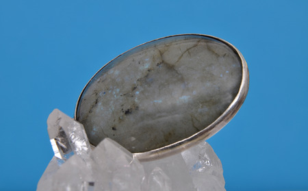 labradorite: Labradorite on rock crystal