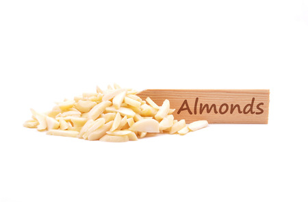 slivers: Almond slivers on plate Stock Photo