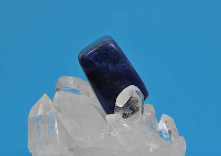 sodalite: Sodalite on rock crystal