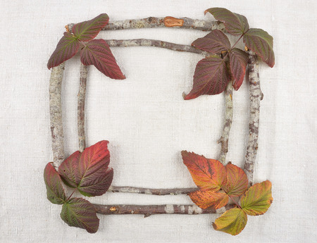 bramble: Wooden frame with bramble leaves
