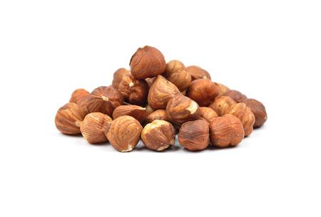 cobnut: Hazelnuts  on white