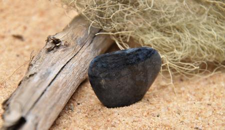 quarz: Dumortierite on beach Stock Photo