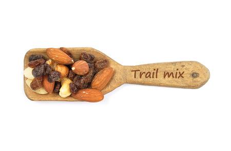 describable: Trail mix on shovel
