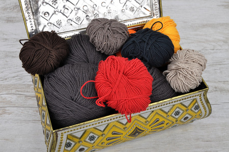 tin: Wool and tin case Stock Photo