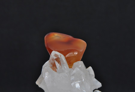 carnelian: Carnelian on rock crystal Stock Photo
