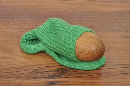 darn: Darning egg with hand-knitted sock Stock Photo