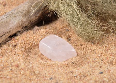 quarz: Rock crystal on beach Stock Photo