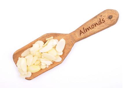 describable: Almond slices on shovel Stock Photo