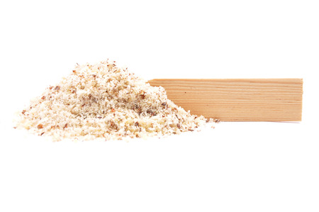 describable: Hazelnuts powdered and plate Stock Photo