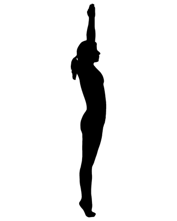 asanas: Silhouette of woman doing yoga Illustration