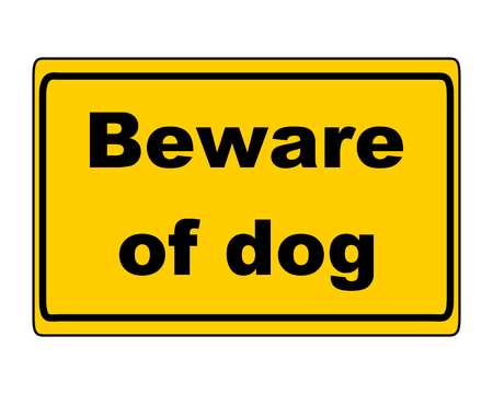 beware dog: Additional sign on white background