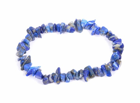 lapis: Splintered lapis lazuli chain on white background