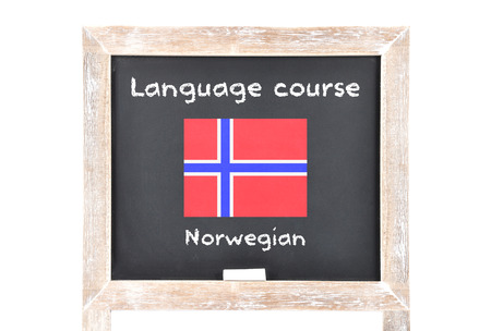 displaced: Language course with flag on board