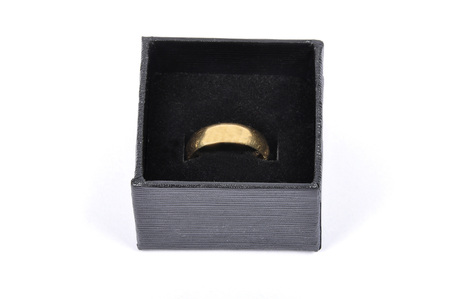 jewel case: Jewel box with golden wedding ring Stock Photo