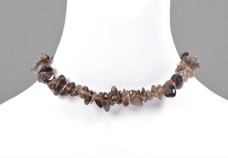 splintered: Splintered smoky quartz chain on bust