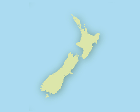 Map of New Zealand with shadow