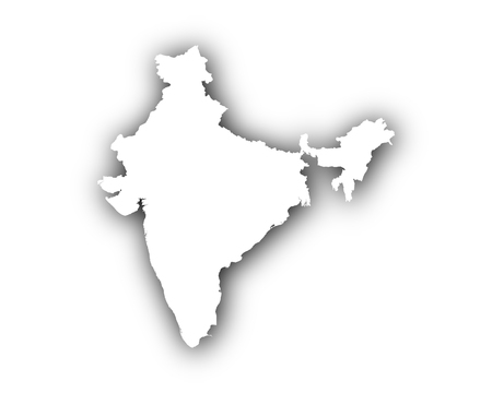 Map of India with shadow