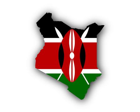 Mappa e bandiera del Kenya Archivio Fotografico - 74103945
