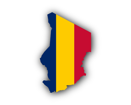 Map and flag of Chad