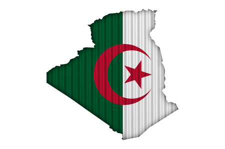Map and flag of Algeria on corrugated iron Stock Photo