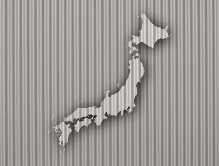Map of Japan on corrugated iron