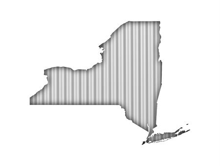 Map of New York on corrugated iron Stock Photo