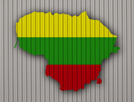 Map and flag of Lithuania on corrugated iron