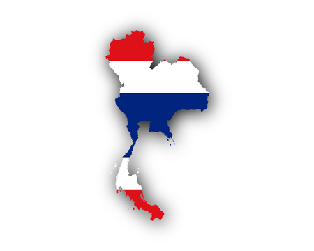 Map and flag of Thailand