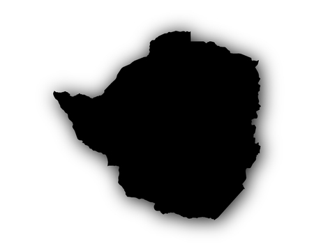 Map of Zimbabwe with shadow Illustration