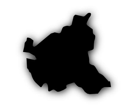 Map of Hamburg with shadow