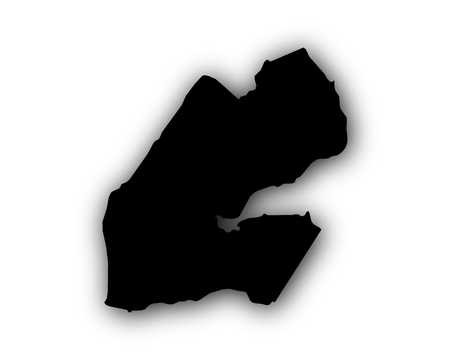 Map of Djibouti with shadow