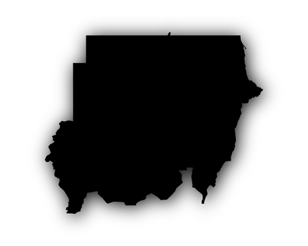 Map of Sudan with shadow