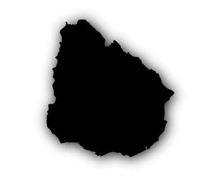 Map of Uruguay with shadow