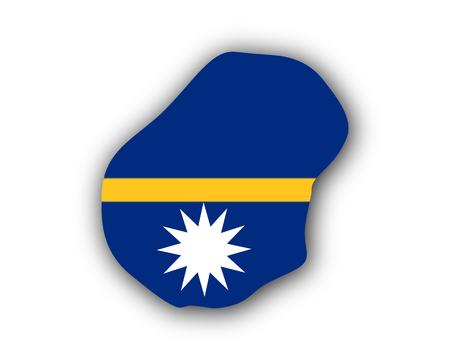 Map and flag of Nauru Illustration