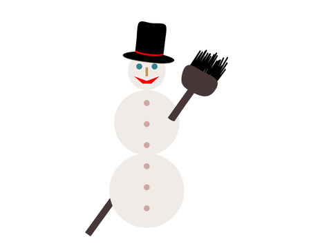 Snowman with broom on white Ilustracja