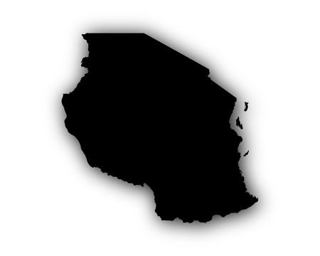 Map of Tanzania with shadow