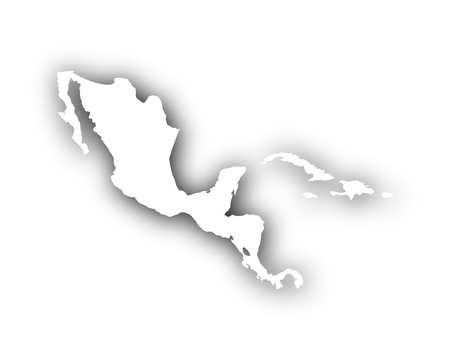 Map of Central America and the Carrbean with shadow Illustration