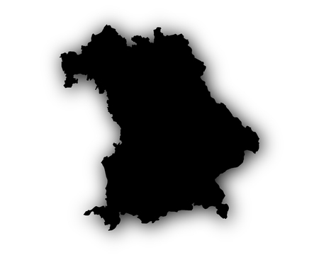 Map of Bavaria with shadow