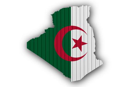 Map and flag of Algeria on corrugated iron Stock Photo