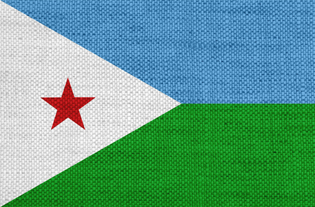 Flag of Djibouti on old linen Stock Photo