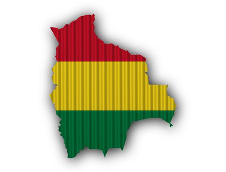 map bolivia: Mapa y bandera de Bolivia en hierro corrugado
